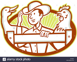 Illustration Of A Farmer On Fence With Chicken And Goose Bird Facing Front Set Inside Oval Done In Cartoon Style Stock Photo Alamy