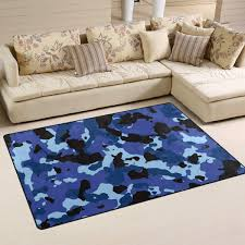 Amazon Com Linomo Area Rug Camo Blue Camouflage Floor Rugs Doormat Living Room Home Decor Carpets Area Mats For Kids Boys Girls Bedroom 60 X 39 Inches Kitchen Dining