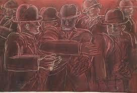 Lester Johnson - MEN IN BOWLER HATS | Bowler hat, Art, Painting
