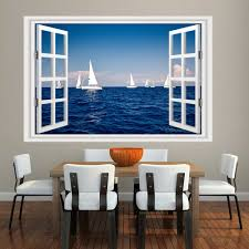 29 Off Mailingart 3d Wall Sticker Mural Home Decor Window Sticker Sailboat Bay Rosegal