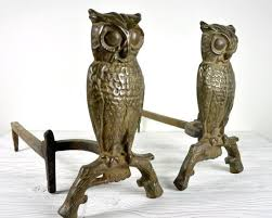vintage owl andirons cast iron now