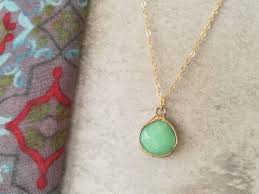 gold and mint green pendant necklace