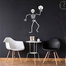 Amazon Com Vinyl Wall Art Decal Happy Skeleton 34 X 23 Fun Spooky Halloween Seasonal Decoration Sticker Kids Teens Adults Indoor Outdoor Wall Door Window Living Room Office Decor