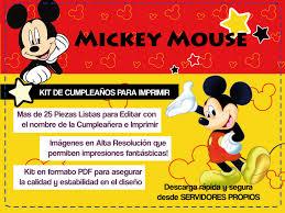 Kit De Cumpleanos Para Imprimir De Mickey Mouse Tarjetas De