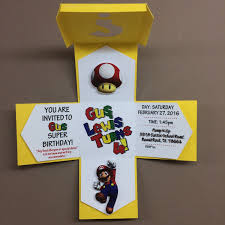 Super Mario Exploding Box Invitation Made With Premium Cardstock