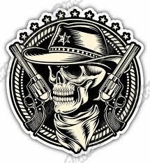 Outlaw Skull Cowboy Revolver Gun Car Bumper Window Vinyl Sticker Decal 4 6 For Sale Online Ebay