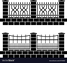 Metal Ornate Fence Black Icons Royalty Free Vector Image