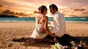 loving couple love beach sunset sea