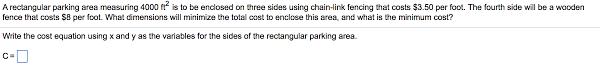 Solved A Rectangular Parking Area Measuring 4000 Ft 2 Is Chegg Com