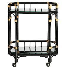 arabella black rattan glass bar cart