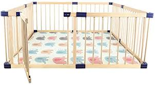 Amazon Com Pnfp Extra Large Wooden Baby Playpen With Door Kids Safety Play Center Yard Home Nursery Indoor Outdoor Fence Play Pen Room Divider Size 160 200 61cm Home Kitchen