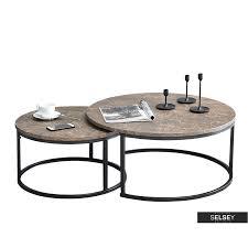 kodia 2 piece brown marble coffee table