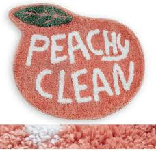 Amazon Com Rora Bath Rug For Kids Coral Pink Peach Shape With White Words Cartoon Plush Water Absorbent Bathroom Decor Mat Bathtub Bathroom Doormats For Children S Room Non Slip Washable Toilet Rug 25 2 X20 5 Kitchen