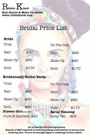 wedding party hair and makeup cost