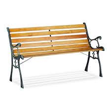 2 seater wooden slats cast iron
