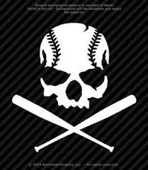 Baseball Skull With Bats Sports Softball Vinyl Decal Window Sticker 25 Colors Ebay
