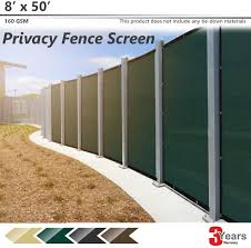 Bouya 8ft X 50ft Green Heavy Duty For Chain Link Fence Privacy Screen Commercial Outdoor Shade Windscreen Mesh Fabric With Brass Gromment 160 Gsm 88 Blockage Uv 3 Years Warranty 8 X 50 Amazon Ca