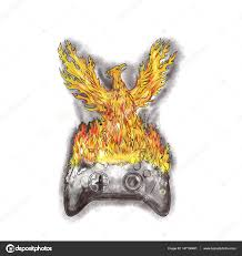 Game Controller Tattoo Phoenix Rising Over Burning Game