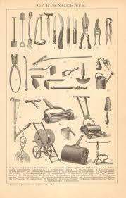 vintage garden tools infographics