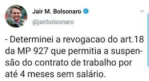 Resultado de imagem para Bolsonaro volta atrás e revoga ponto de MP que permitia suspensão de trabalho por 4 meses