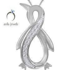 penguin infinity pendant necklace white