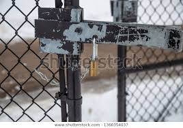 Padlock Lock On Fence Gate Chain Stock Photo Edit Now 1360354037