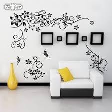 Hot Diy Wall Art Decal Decoration Black Flower Vine Wall Sticker Tv Background Wall Stickers Home Decor 3d Wallpaper Wall Stickers Aliexpress