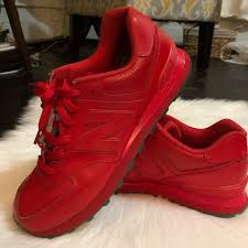 574 encap red leather sneakers size