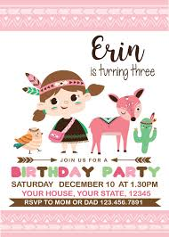 Little Indian Forest Friends Birthday Invitation By