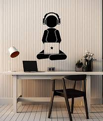 Amazon Com Vinyl Wall Decal Gamer With Laptop Headphones Video Games Gaming Stickers Mural Large Decor Ig6094 Black Home Kitchen