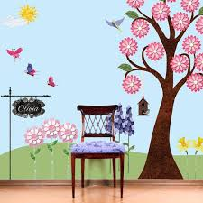 Flower Garden Wall Decals For Nursery Girls Room Wall Mural Etsy