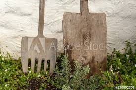 Rustic Gardening Tools Wooden Fork And Spade Horticultural Equi Buy This Stock Photo And Explore Similar Images At Adobe Stock Adobe Stock