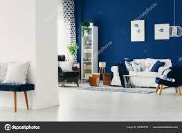 cly living room dark blue wall