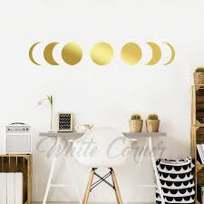 Moon Phases Wall Decal Moon Phases Decor Gold Moon Phases Etsy Moon Wall Decal Wall Decals Modern Decals