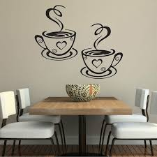 Decal Kitchen Restaurant Cafe Tea Wall Stickers Art Vinyl Coffee Cups Stickers For Wall Decor Color Black Wish