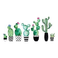 Home Decor Line Green Watercolor Cactus Wall Decals Set Of 8 Tcr 54114 The Home Depot