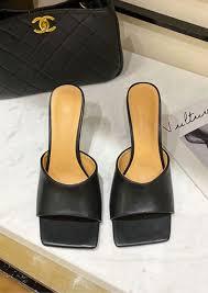 faux leather square toe mule heels