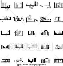 Clip Art Vector Broken Fence Silhouettes Set Stock Eps Gg85730507 Gograph