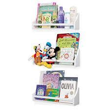 Nursery Decor Wall Shelves 3 Set Shelf Crown Molding Floating Bookshelves For Baby And