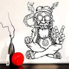 Smoking Weed Peace Wall Stickers Removable Vinyl Wall Sticker Hippie In Glasses Symbol Ethnic Decor Wall Decal Sticker Remover Vinyl Wallvinyl Wall Stickers Aliexpress