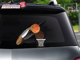Slam Basketball Arm Dunk Wipertag With Net Decal Attach To Rear Wiper Blade Wipertags