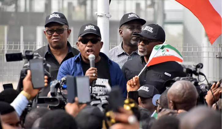 Image result for Insecurity: PDP leaders take protest to American Embassy""
