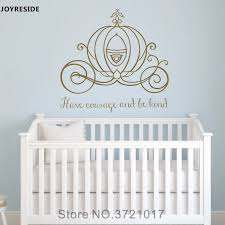 Joyreside Wall Decal Vinyl Sticker Decor Cinderella Carriage Have Courage And Be Kind Girls Room Nursery Princess Mural Xy053 Wall Stickers Aliexpress