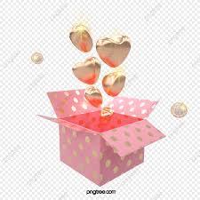 3d golden love balloon gift box