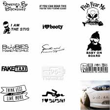 Funny Sticker I Love Sushi I Am Stig Baby In Car Think Less Live More Fake Taxi Drift Sign Refueling Simple Leyebrows Taro Fish Car Stickers Aliexpress