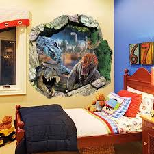 3d Cartoon Dinosaur Smashed Wall Stickers For Kids Rooms Home Decor Adesivo De Parede Living Room Tv Background Pvc Decals Sticker For Kids Room Wall Stickers For Kidswall Sticker Aliexpress