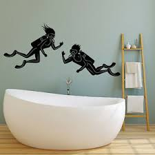 Vinyl Wall Decal Scuba Diving Underwater Funny Bathroom Decor Stickers 2454ig Ebay