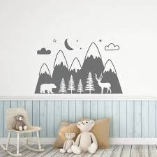 Vova Mountains Woodland Baby Nursery Wall Decal For Kids Rooms Bear Dear Animal Vinyl Sticker Wallpaper Playroom Decor Decals