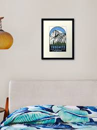 Yosemite National Park California Half Dome Vintage Decal Framed Art Print By Melikeytees Redbubble