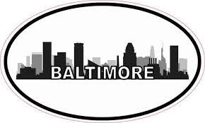 5in X 3in Oval Baltimore Skyline Sticker Vinyl Luggage Decal Car Stickers Stickertalk